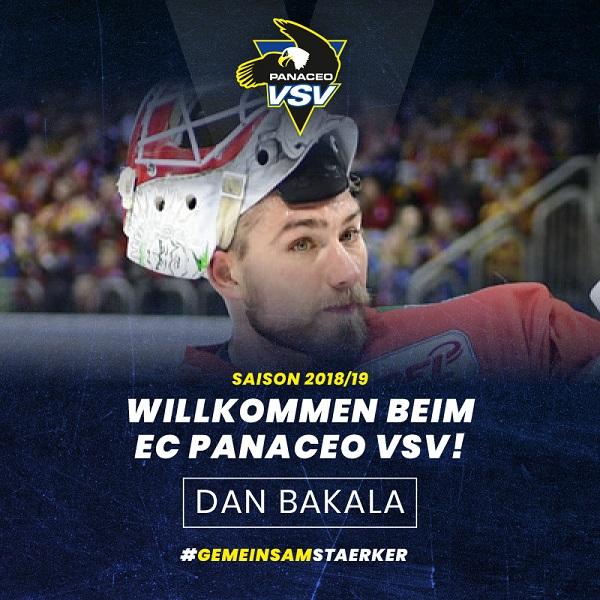 Bild von Der neue Mann im Tor des EC Panaceo VSV heißt Dan Bakala