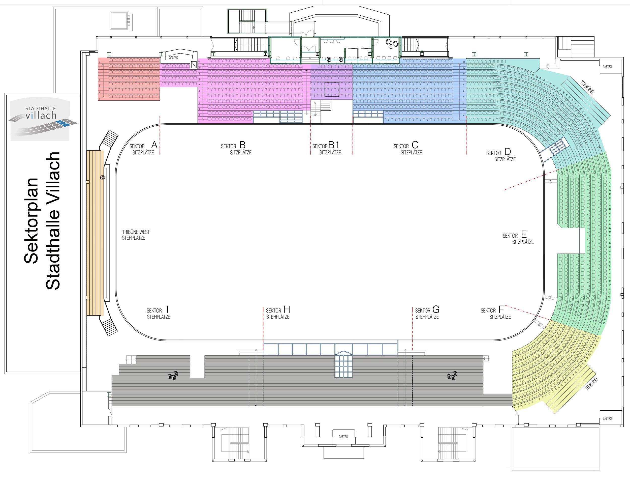 Sektorenplan der Stadthalle Villach